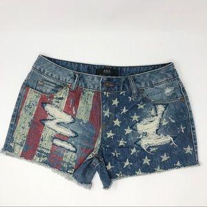 A.B.S. By Allen Schwartz American Flag Shorts